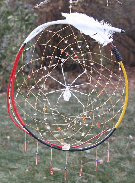 medicine spider woman dreamcatcher by john pete with chakra stones, feather fan and swarovski crystal beaded spider