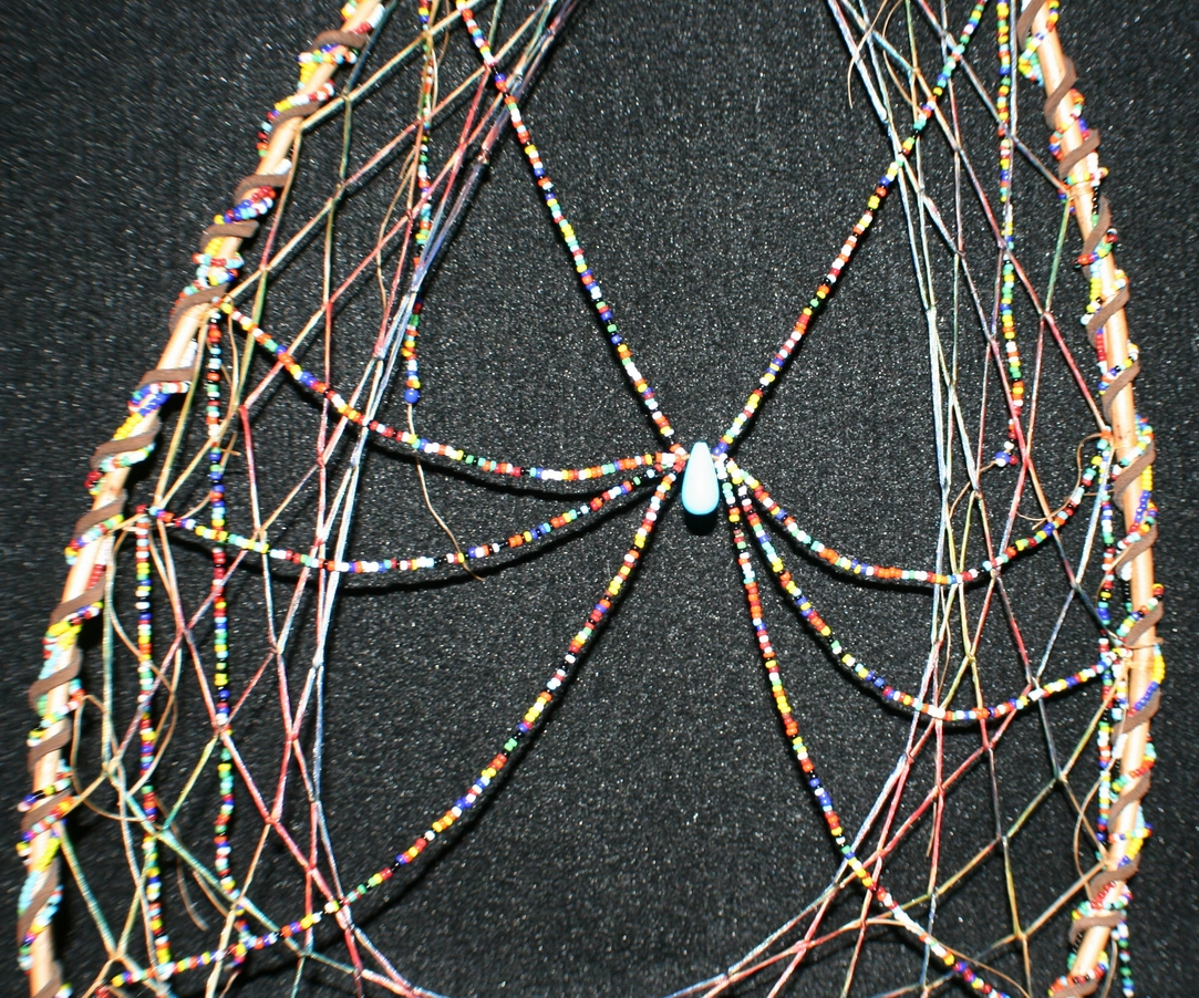 grandmother spider dreamcatcher by john pete with snowshoe hoop and beaded spider
