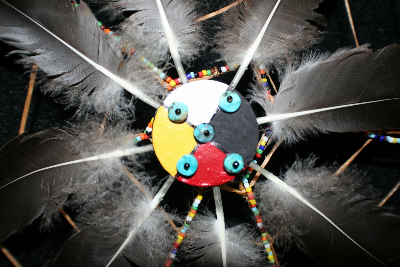 medicine wheel dreamcatcher centerpiece by john pete with turquoise and feather accents